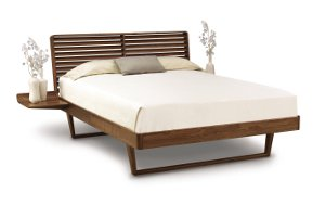 Contour Bed with Left and Right Shelf Nightstands