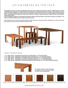 Downloadable Unica Tables Spec Sheet